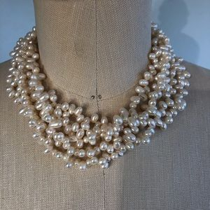 """Jewelry - Five strand pearl necklace, 16"""", silver tone clasp"""